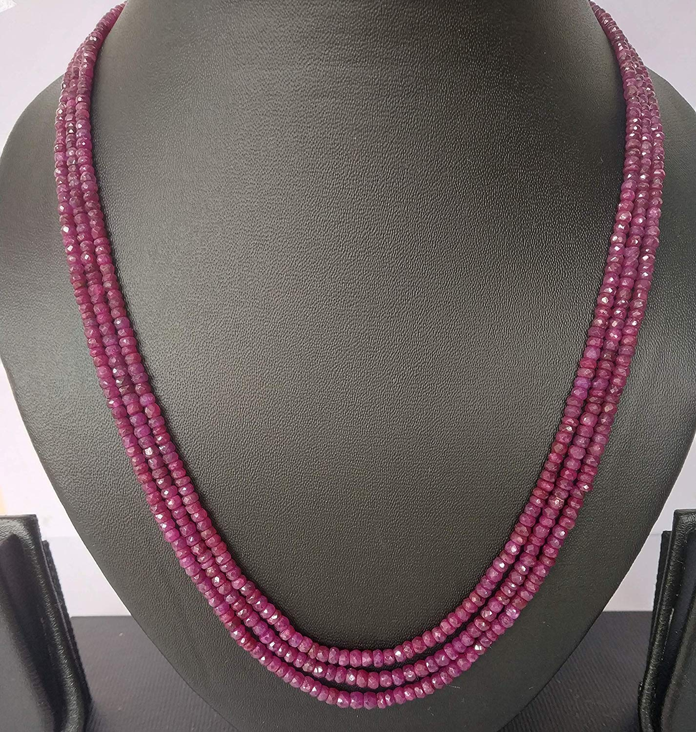 #Ruby Necklace-3 Lines 165.65 CT