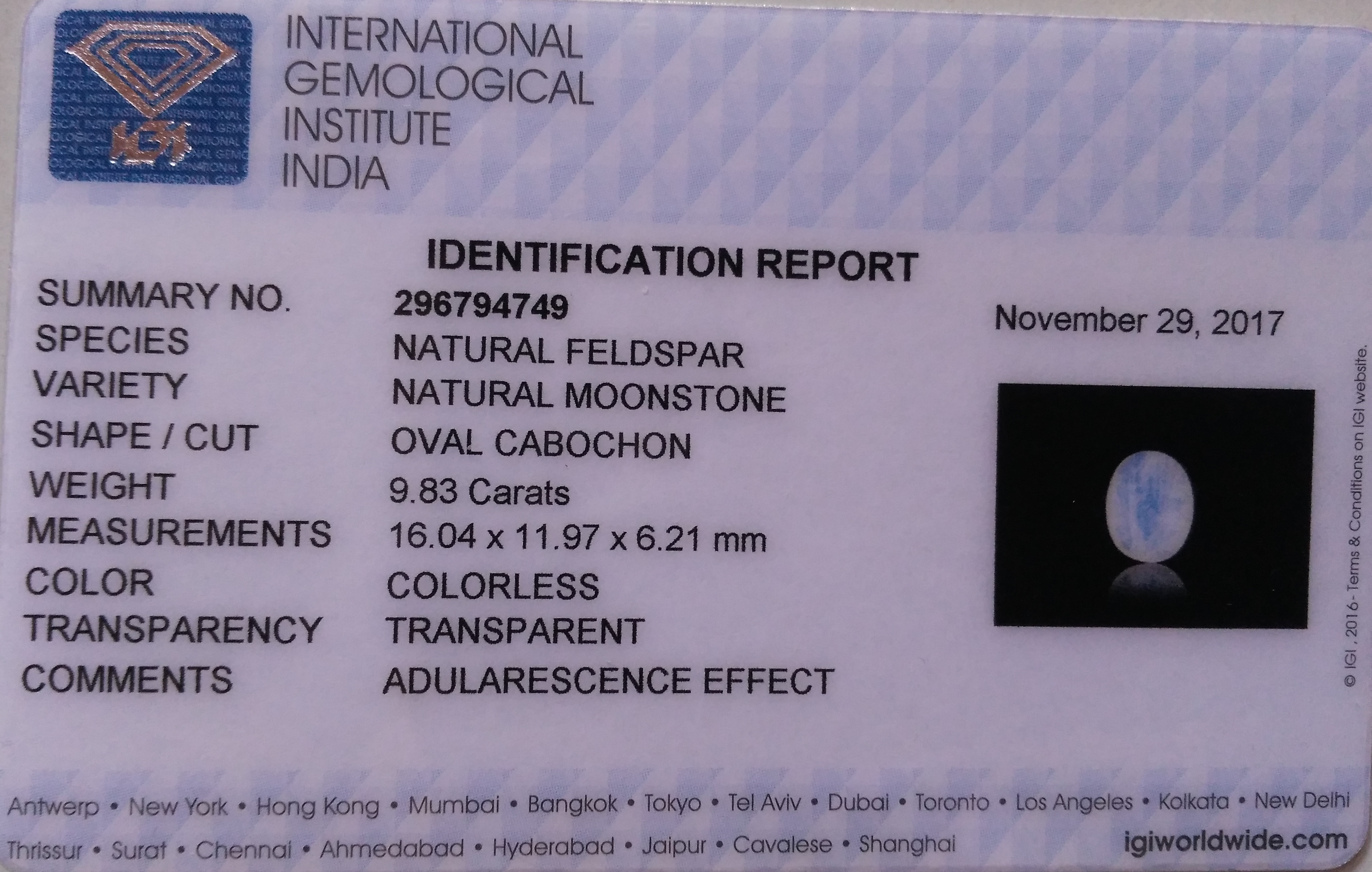 #Colorless Moonstone 9.83